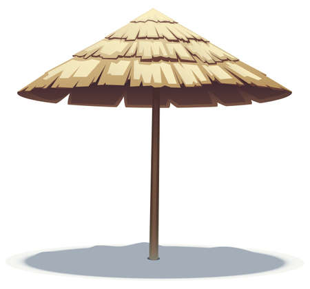 vector illustration of Palm Leaf Beach Umbrella Illustration