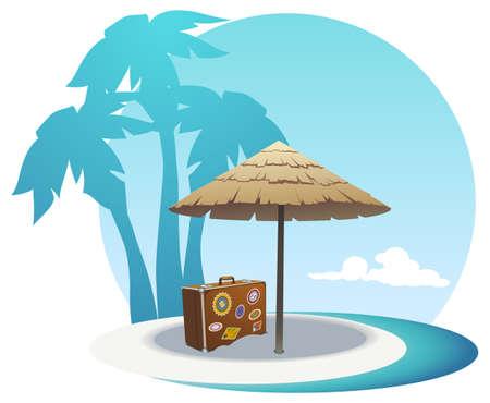 Vector illustratie van het eiland kust Stock Illustratie
