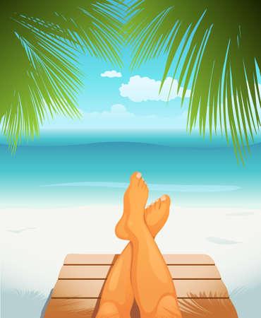 illustration of legs on beach