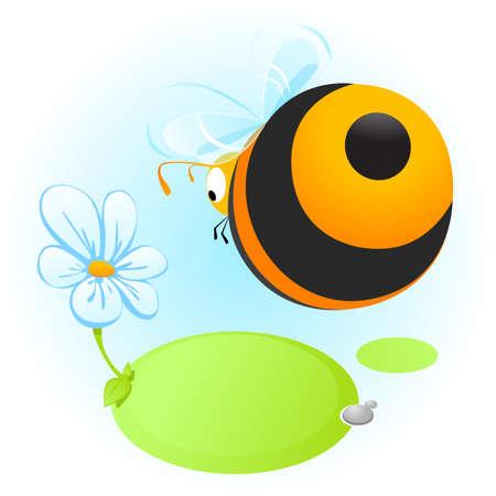 Cartoon bee vliegen naar bloem