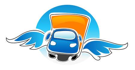 Cartoon illustratie van de auto met vleugels Stock Illustratie