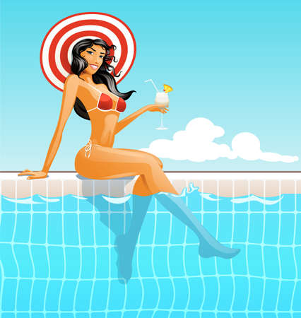 maillot de bain: illustration de la jeune fille dans la piscine avec jet de massage Illustration