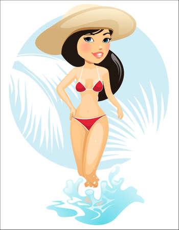 costume de bain: Vector illustration d'une jeune fille dans le chapeau de l'été