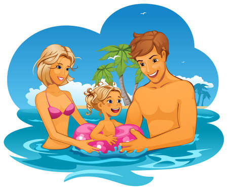 illustration of Family on vacation Vector