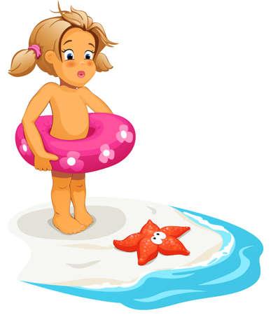 Illustratie van baby meisje en zeester op het strand