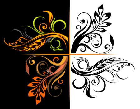 Set of floral corners for design Vector