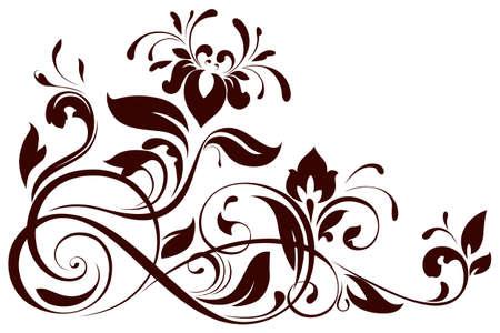 flower ornament: illustration of floral ornament Illustration