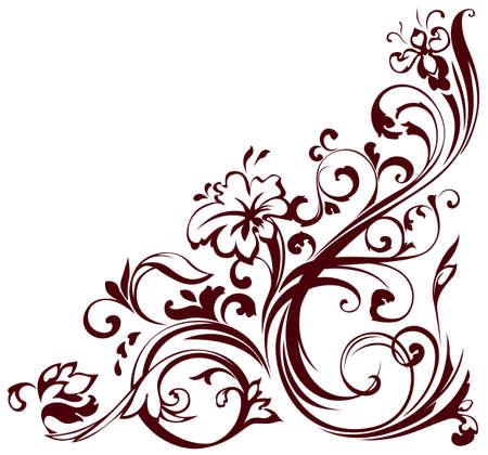 decorative style:  illustration of floral corner
