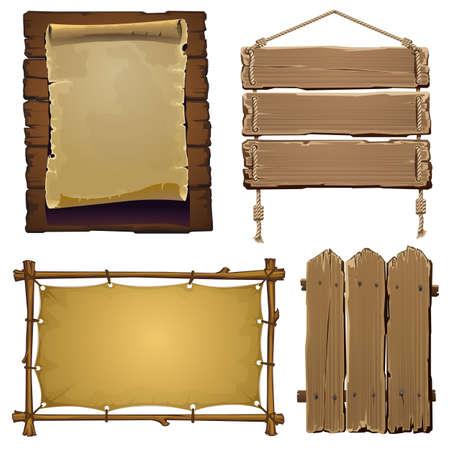 marco madera: conjunto de elementos de madera del vector para el diseño