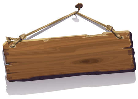 button: Wood board on the rope. Vector illustration. Illustration