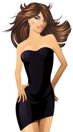 Sexy dancing woman. Vector illustration. Illustration