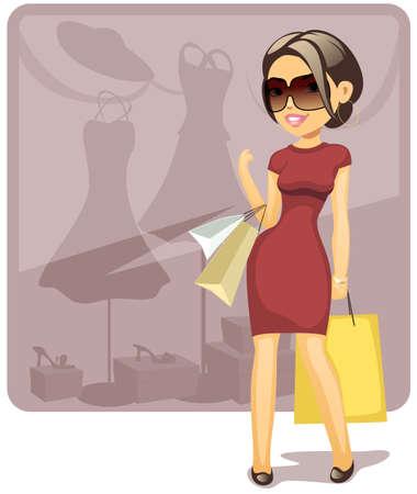 vector illustration of cartoon shopping girl