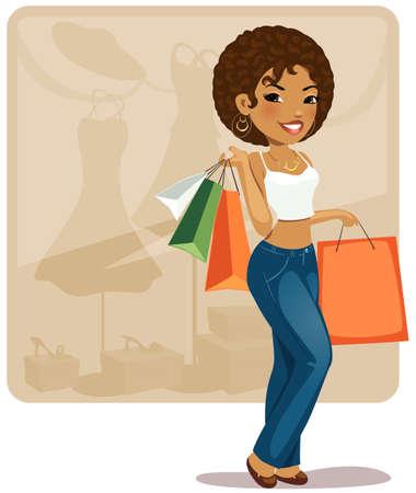 girl illustration: Ilustraci�n de dibujos animados chica de compras.