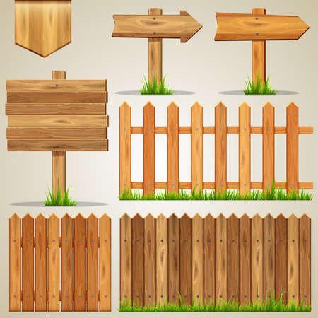 dřevěný: Sada dřevěných prvků pro design. Vektorové ilustrace.