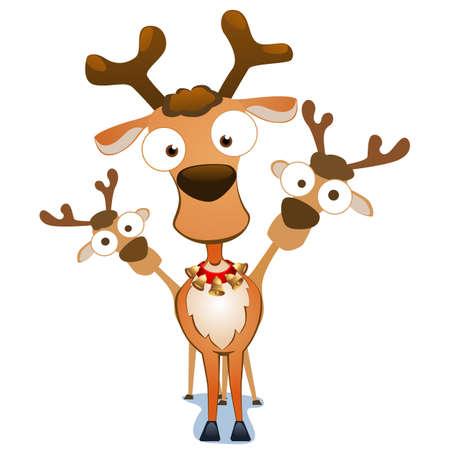 Cartoon christmas deers. Vector illustration.