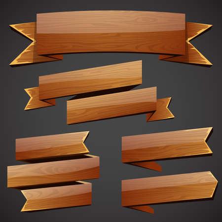 Set van vector hout banners Stock Illustratie