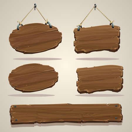 ロープで木の板。