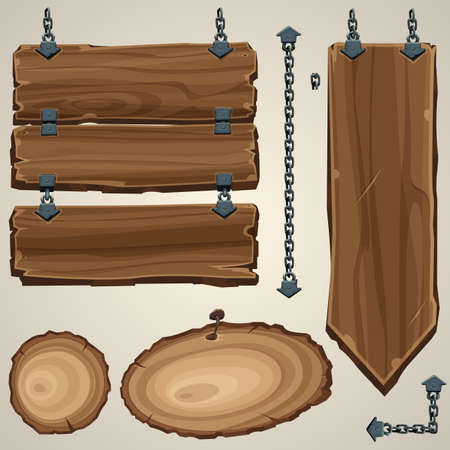 weathered wood: Wooden boards with chain. Vector illustration.