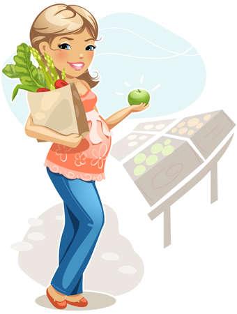 Pregnant woman on Vegetable Market. Vector illustration.