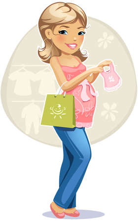 vector illustration of shopping pregnant woman