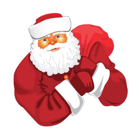 Kerstman met zak van giften