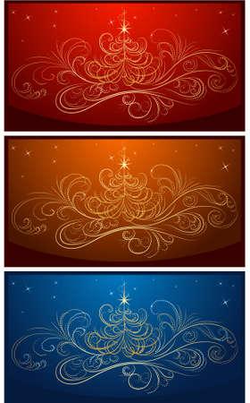 set van vector kerst achtergronden Stock Illustratie