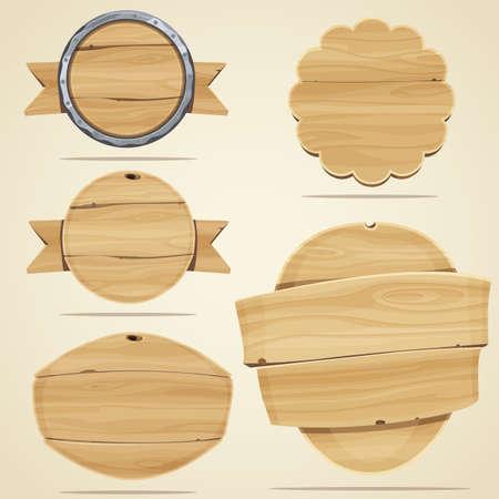 Reeks houten elementen voor het ontwerp. Vector illustratie Stock Illustratie
