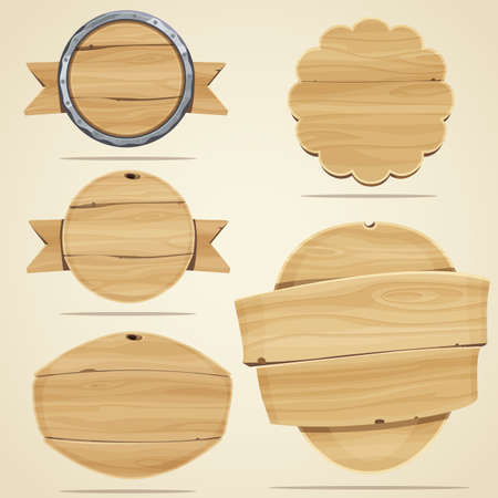 wood sign: Set of wood elements for design. Vector illustration Illustration