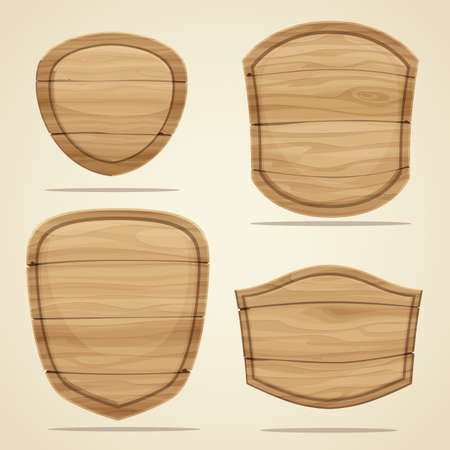 Set of wood elements for design. Vector illustration Ilustração