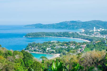 Andaman Landscape of Phuket. Patong Beach, Karon Beach, Kata Beach, Taken from Karon Viewpoint. Located in Phuket, Thailand. Stock Photo