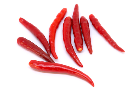Closeup red chilli isolated on white screen
