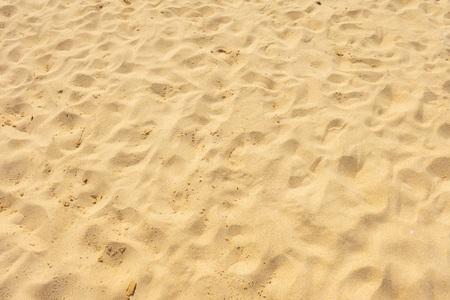 Drobny piasek na plaży w letnim słońcu