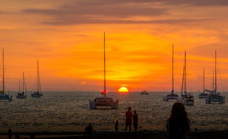Coast sea sunset in the sea.