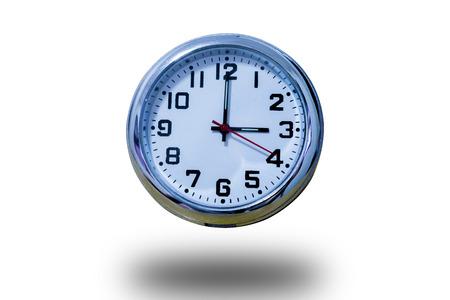 Clock on studio shot isolated on white background 版權商用圖片