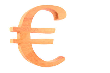 Euro signfigure carved  from raw wood isolated version 2