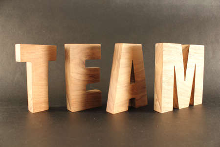 TEAM text composition with natural wood letters version 3