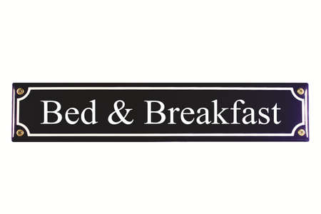 accomodation: Bed and Breakfast separated metal sign blue with white text