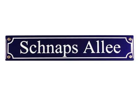 Schnaps Allee German Enamel Street Sign