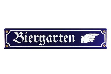 biergarten: Biergarten Hand rechts German Enamel Street Sign