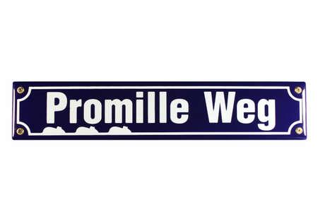 biergarten: Promilleweg German Enamel Street Sign