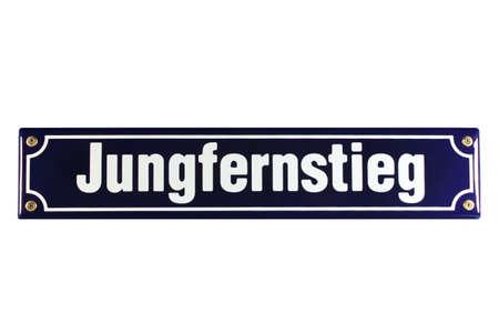 emaille: Jungfernstieg Hamburg German Enamel Street Sign Stock Photo