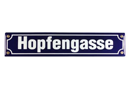 workable: Hopfengasse German Enamel Street Sign