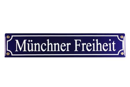 M�nchner Freiheit German Enamel Street Sign Stock Photo