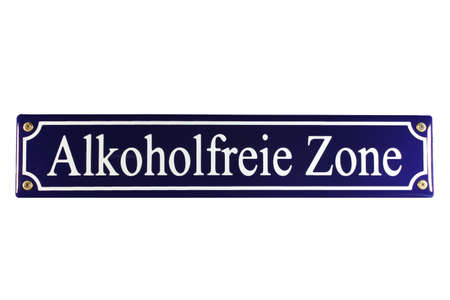 emaille: Alkoholfreie Zone German Enamel Street Sign