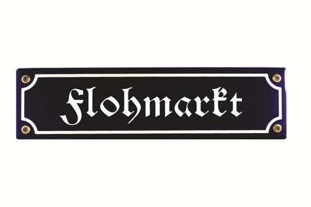 emaille: Flohmarkt German Enamel Street Sign