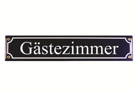 emaille: G�stezimmer German Enamel Street Sign Stock Photo