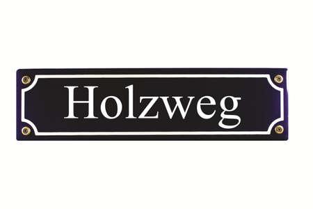 emaille: Holzweg German Enamel Street Sign Stock Photo
