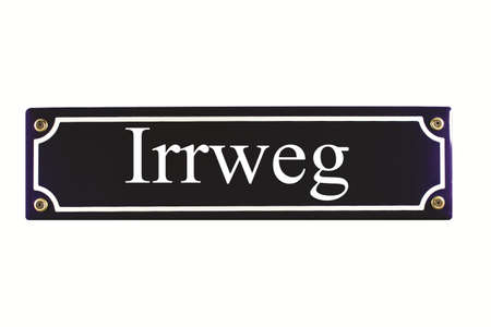emaille: Irrweg German Enamel Street Sign Stock Photo