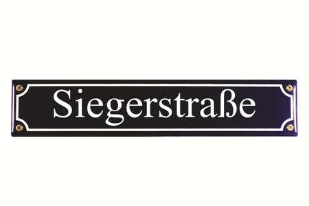 Siegerstraße German Enamel Street Sign Stock Photo