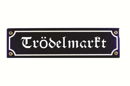 emaille: Tr�delmarkt German Enamel Street Sign Stock Photo